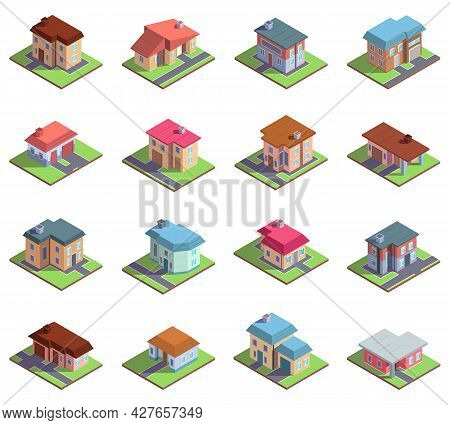 Isometric 3d Modern Residential Suburban Or City Houses. Country Cottages Or Townhouses Vector Illus