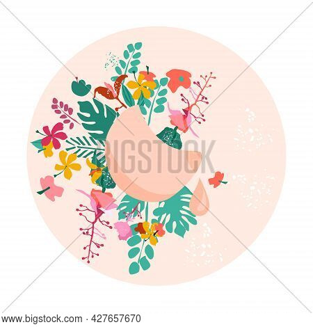 Breastfeeding Week Illustration.female Organ With Nipple.lactation Concept On Floral Background With