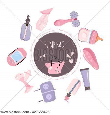 Content Of Pump Bag Illustration. World Breastfeeding Week. Lactation Accessories Set. Hands Free Br