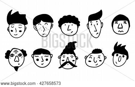 Set Of Doodle Guy Faces. Black And White Vector Isolated Illustration Logo. Serious, Surprised, Gloo