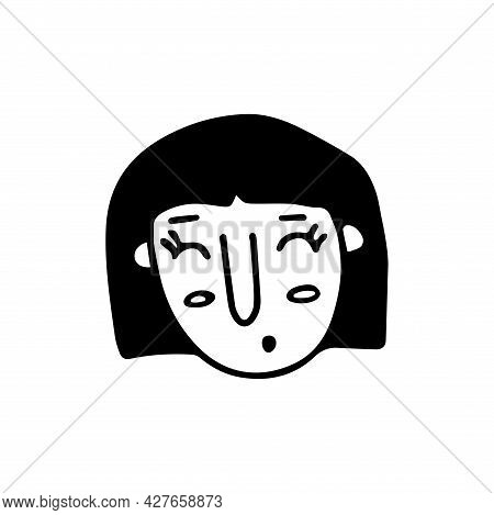 Doodle Girl Face. Black And White Vector Isolated Illustration Single Logo. Surprised Happy Girl Wit