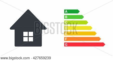 Energy Efficiency Concept. Energy Efficient House With Classification Graph. Vector Illustration
