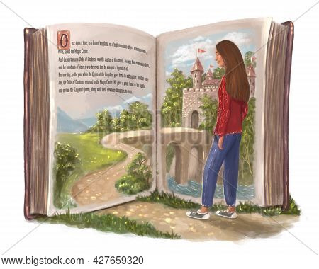 The Magical World Of Books. A Girl Who Walks Into A Fictional Literary World. Big Book With A Portal