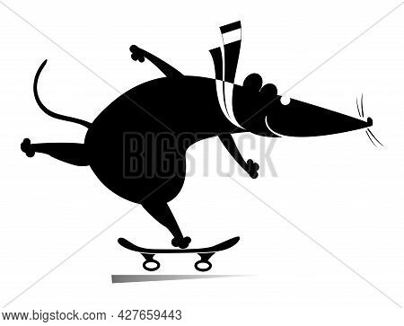 Cartoon Rat Or Mouse A Skateboarder Isolated Illustration.  Funny Rat Or Mouse Skatting. Active Life