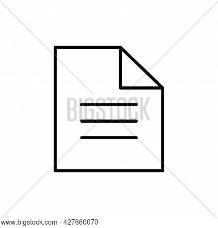 Paper, File, Document Black Icon. On White Background. Trendy Flat Isolated Symbol Sign Can Be Used