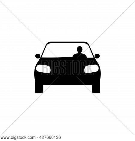 Man Driving Car Black Silhouette Icon. Trendy Flat Isolated Symbol, Sign On White Background, Can Be