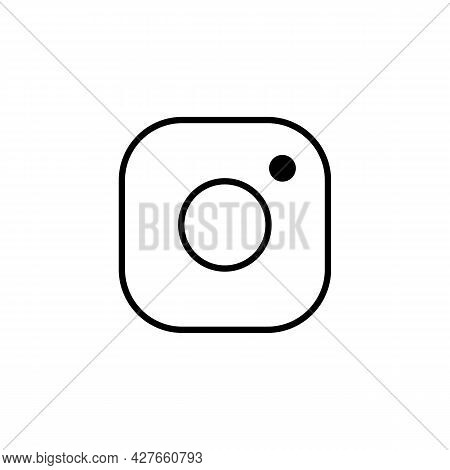 Simple Camera Sign Thin Line Illustration Icon In Black, Outline Flat Style Pictogram Film Camera. S