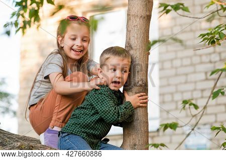 Casual Older Sister And Younger Brother Relaxing On Tree Branch In Backyard. Enjoy Summer Vacation.