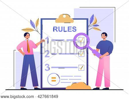List Of Rules Concept. Men Make Up A Checklist For Regulating Relations In The Team. Legislative Pro