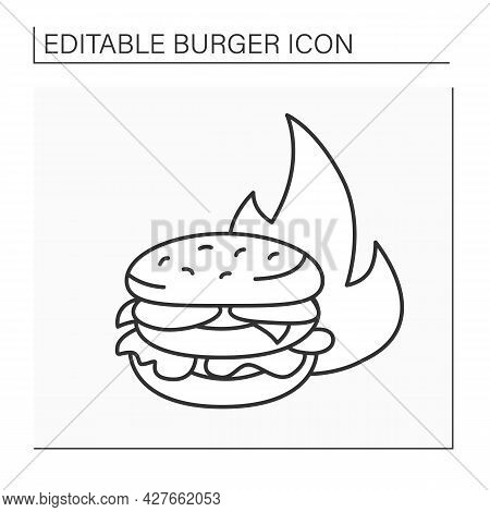 Sandwich Line Icon. Delicious Burger For Low Price. Best Offer. Hot Proposal. Fast Food Concept. Iso