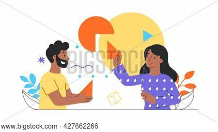 Digital Transformation Concept. Man And A Woman Are Holding Pieces Of A Diagram In Their Hands. Arti