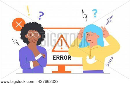Concept Operating System Error Warning. 404 Error. Two Women Are Upset Because Of A System Error. Mo