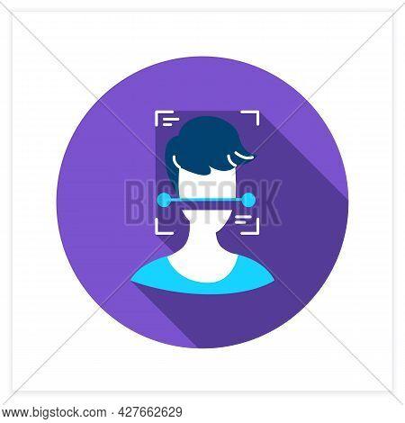Ai Surveillance Flat Icon. Human Face Scanning. Ai Video Surveillance Face Recognition Technology Co