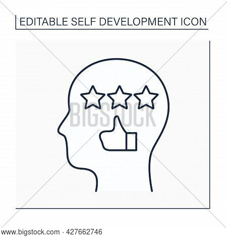 Self-efficacy Line Icon. Realistic Rating Of Personal Actions And Thoughts. Person Attitudes, Abilit