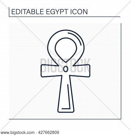 Ankh Line Icon. Cross. Key Of Life Symbol In Ancient Egypt. Hieroglyphic. Infinity. Egypt Concept. I