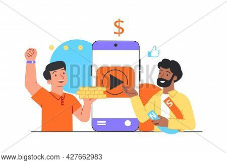 Video Monetization Concept. Man Receives Money For His Video Content On Social Networks. Famous Blog