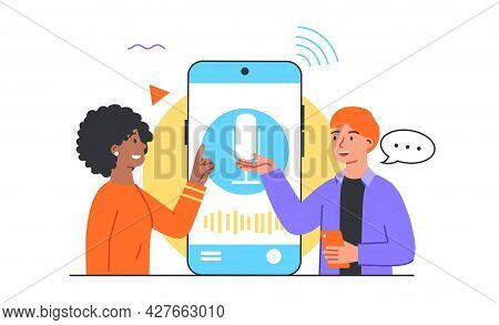 Voice Assistant Concept. Equalizer Sound Waves On The Smart Phone. Man And Woman Ask Questions To A