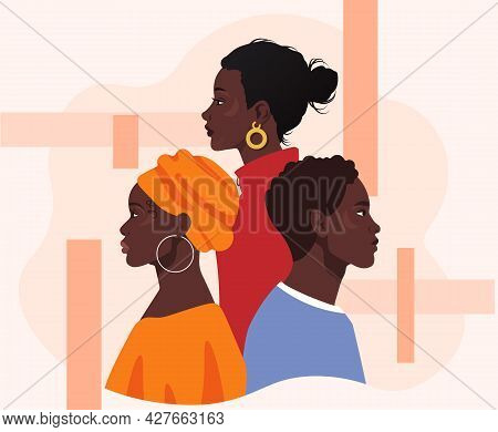 Black Lives Matter Concept. African American Men And Woman In Colorful Clothes Stand One By One. Tol