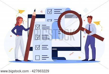 Business Team Concept. Man And Woman Mark The Completed Tasks In An Electronic Checklist. Completion