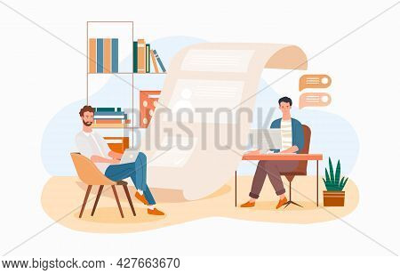 Office Workers Concept. Man Office Workers Standing In Front Of List Of Job Applicants. Employees Ch