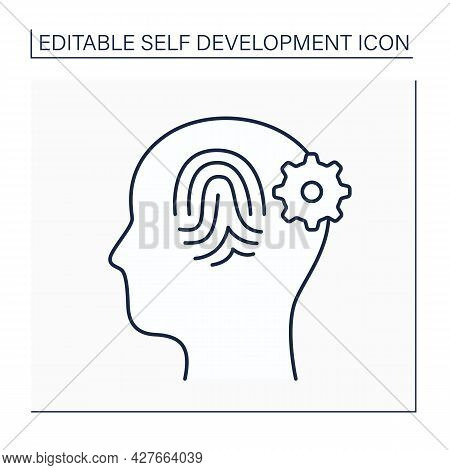 Self-identity Line Icon. Self-awareness. Understanding Needs And Abilities.composite Of All Traits,