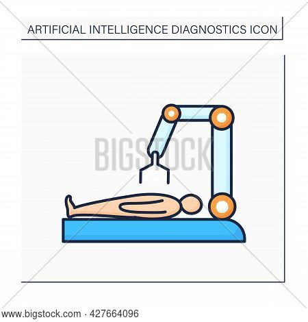 Ai In Medicine Color Icon. Digital Technologies For Surgery. Robot Machine Doing Surgery.ai Diagnost