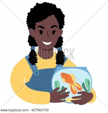 African Girl With A Pet Goldfish. Flat Style Illustration