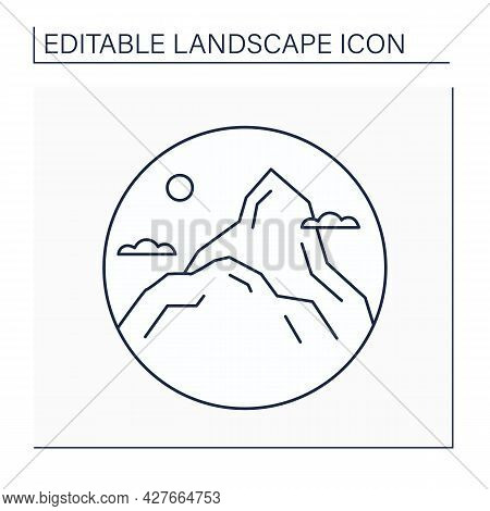 Summit Line Icon. Top Of Hill Or Mountain. Highest Point. Landscape Concept.isolated Vector Illustra