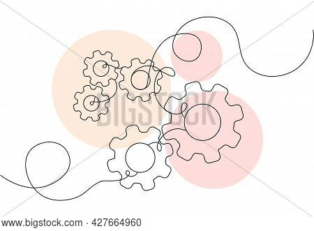One Continuous Line Of Moving Gears Wheels. Round Wheel Metal Symbol Company Logotype Template For B