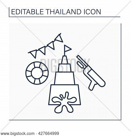 Songkran Line Icon. Traditional Festival Dedicated To New Year Celebration.water Splashing Event. Cu