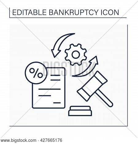 Bankruptcy Procedure Line Icon.filing Petition To Declare Debtor Person Or Business Bankrupt. Legall