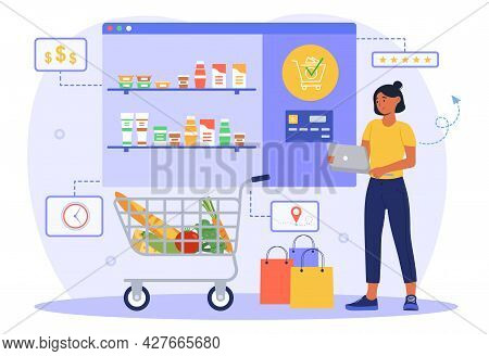 Grocery Shopping Online. Woman Holds Laptop In Her Hands And Orders Food In An Online Supermarket. D