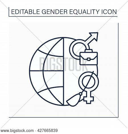 Stereotype Line Icon. Social Role. Norms And Patterns Of Behavior For Male And Female. Work For Men