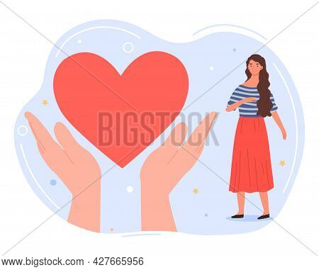 Social Support Concept. Charity And Volunteering Activity. Big Hands Hold The Heart. Helping People
