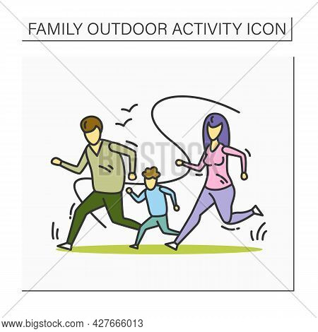 Family Running Color Icon. Family Marathon. Parents And Kid Exercise Outdoors. Mother, Father And Of