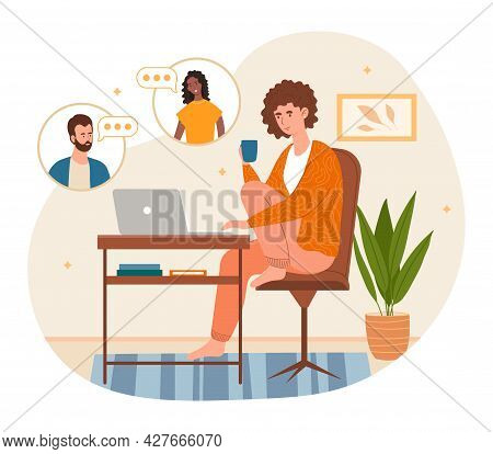 Working From Home Concept. Woman Sits At Home At Desk And Communicates With Colleague Via Video Link