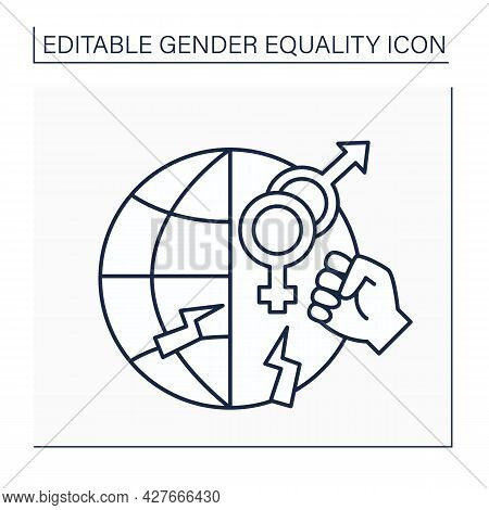 Gender-based Violence Line Icon. Harmful Acts Directed At An Individual Based On Sex. Inequality. Ge
