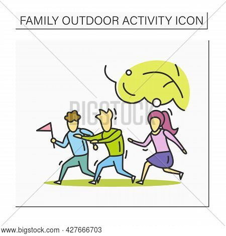 Family Outdoors Activities Color Icons Set. Parents And Kids Playing, Walking, Having Picnic In Natu