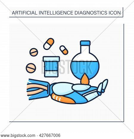 Ai In Pharmacy Color Icon. Digital Technologies In Medicine. Robot Hand Keeps Pills And Flasks. Drug