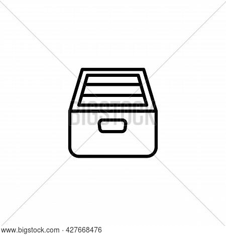 Drawer Archive Directory With Documents Black Icon On White. Trendy Flat Isolated Symbol Sign Can Be