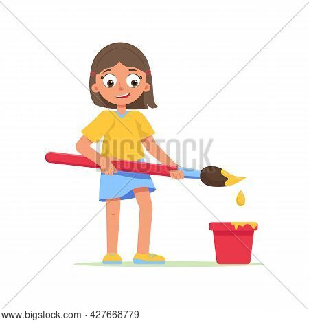 Girl, Young Artist Holds Paint Brush With Paint. Child Dips Brush Into Bucket Of Paint. Schoolgirl D