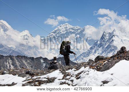 Climber in Himalayan mountain,Nepal