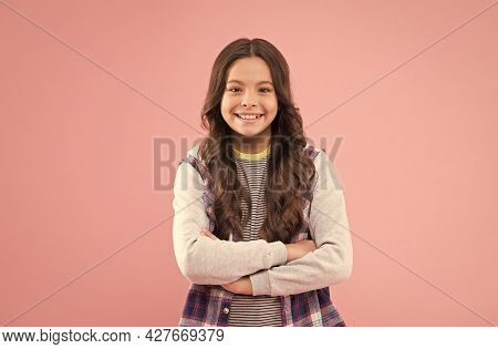 Just Being You. Happy Girl Child In Casual Wear. Beauty Look. Fashion Trend. Trendy Style. Child Car