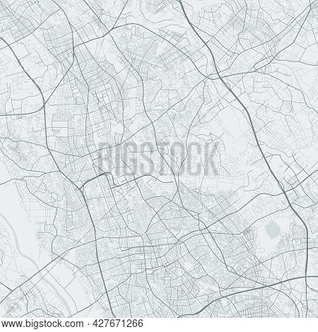 Urban City Map Of Saitama. Vector Illustration, Saitama Map Grayscale Art Poster. Street Map Image W