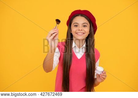 Smiling Child In Beret Use Cosmetics. Natural Female Skin Beauty. Tween And Youth.