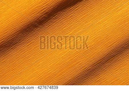 Detail Of Wrinkled Orange Crepe Paper Background Texture