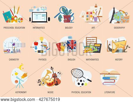 Colorful Education And School Lesson Subjects Icons. High School And Preschool Classes Stickers, Sym