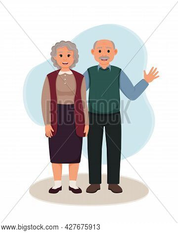Happy Grandparents Standing Together. Vector Illustration Of Grandmother And Grandfather. Elderly Co