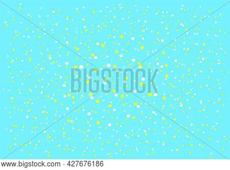 Colored Confetti Of Dots. Vector Texture, A Set Of Yellow And White Dots Of Different Sizes, Large I