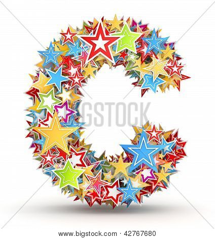 Letter C from colored stars